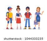 school kids standing together.  ...   Shutterstock .eps vector #1044333235