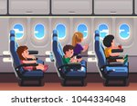 kids girls   boys traveling by... | Shutterstock .eps vector #1044334048