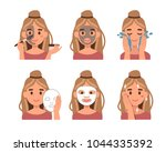 steps how to apply facial mask. ... | Shutterstock .eps vector #1044335392