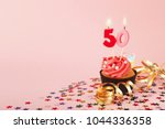50th birthday cupcake with... | Shutterstock . vector #1044336358