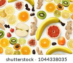 set of assorted fruits isolated ... | Shutterstock . vector #1044338035