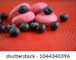 pink macaroon cookies with... | Shutterstock . vector #1044340396