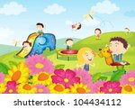 illustration of kids playing at ... | Shutterstock .eps vector #104434112