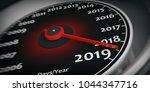 2019 New Year. Car Speedometer...