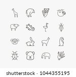 animal icon set and bear with...