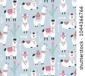 cartoon llama alpaca seamless... | Shutterstock .eps vector #1044366766