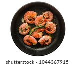 pan of grilled prawn shrimps... | Shutterstock . vector #1044367915