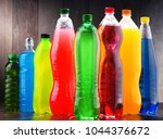plastic bottles of assorted... | Shutterstock . vector #1044376672