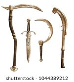 collection of ancient weapons.... | Shutterstock . vector #1044389212