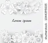 paper art floral background.... | Shutterstock .eps vector #1044395035