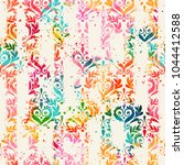 seamless vintage pattern with... | Shutterstock .eps vector #1044412588