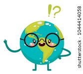 cartoon clever earth  character ... | Shutterstock .eps vector #1044414058