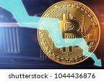 bitcoin fall down. golden... | Shutterstock . vector #1044436876