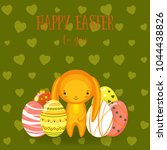 greeting cards with cute easter ... | Shutterstock .eps vector #1044438826