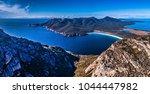 Panorama view of Wineglass Bay, in Freycinet National Park Tasmania