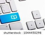 blue bottom on a laptop with... | Shutterstock . vector #1044450298