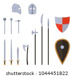 medieval weapons and armors set.... | Shutterstock .eps vector #1044451822
