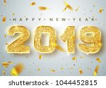 2019 happy new year. gold... | Shutterstock .eps vector #1044452815