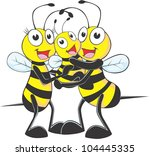 happy bee family cartoon | Shutterstock .eps vector #104445335