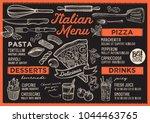 pizza restaurant menu. vector... | Shutterstock .eps vector #1044463765