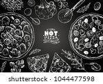 italian pizza and ingredients... | Shutterstock .eps vector #1044477598