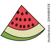 fresh watermelon sliced fruit... | Shutterstock .eps vector #1044484918