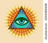 all seeing eye of god  the eye...   Shutterstock .eps vector #1044485608