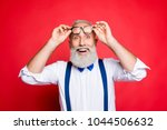 portrait of cheerful  glad  old ... | Shutterstock . vector #1044506632
