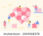 people are making huge hearts... | Shutterstock .eps vector #1044568378