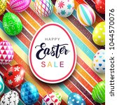 happy easter day sale with... | Shutterstock .eps vector #1044570076
