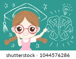 cute cartoon girl student with... | Shutterstock .eps vector #1044576286