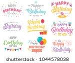 set of happy birthday... | Shutterstock .eps vector #1044578038