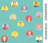 people network in blue... | Shutterstock .eps vector #1044609445
