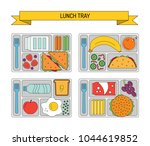 set lunches on a tray. line...   Shutterstock .eps vector #1044619852