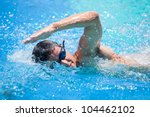 Young Man Swimming The Front...