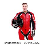Постер, плакат: Motorcyclist biker in red