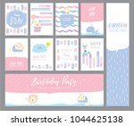 blue pink pastel greeting card... | Shutterstock .eps vector #1044625138