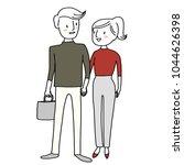 cute couple walking hand in... | Shutterstock .eps vector #1044626398