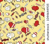 cute yellow  white and red... | Shutterstock . vector #1044644935