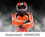 motorcyclist standing in smoke... | Shutterstock . vector #104465342