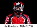 closeup portrait of a biker in... | Shutterstock . vector #104466788