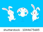 Stock vector white rabbit jumping and dancing cute bunny happy easter day cartoon character design 1044675685
