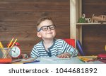 child in glasses doing his... | Shutterstock . vector #1044681892