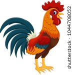 happy rooster cartoon isolated... | Shutterstock .eps vector #1044708052