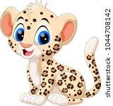 cute baby leopard cartoon  | Shutterstock . vector #1044708142