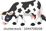 cute cartoon cow eating grass    Shutterstock .eps vector #1044708208