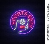 sports betting is a neon sign.... | Shutterstock .eps vector #1044716362