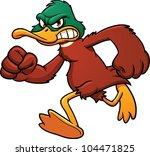 angry cartoon duck mascot...