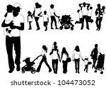 family silhouettes | Shutterstock .eps vector #104473052