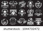set of bodybuilding emblems in... | Shutterstock .eps vector #1044732472